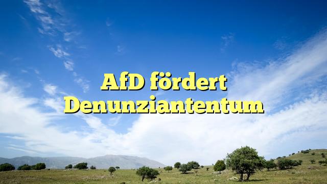 AfD fördert Denunziantentum
