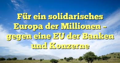 Für ein solidarisches Europa der Millionen – gegen eine EU der Banken und Konzerne