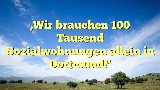 'Wir brauchen 100 Tausend Sozialwohnungen allein in Dortmund!'