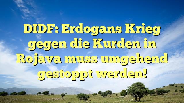 DIDF: Erdogans Krieg gegen die Kurden in Rojava muss umgehend gestoppt werden!